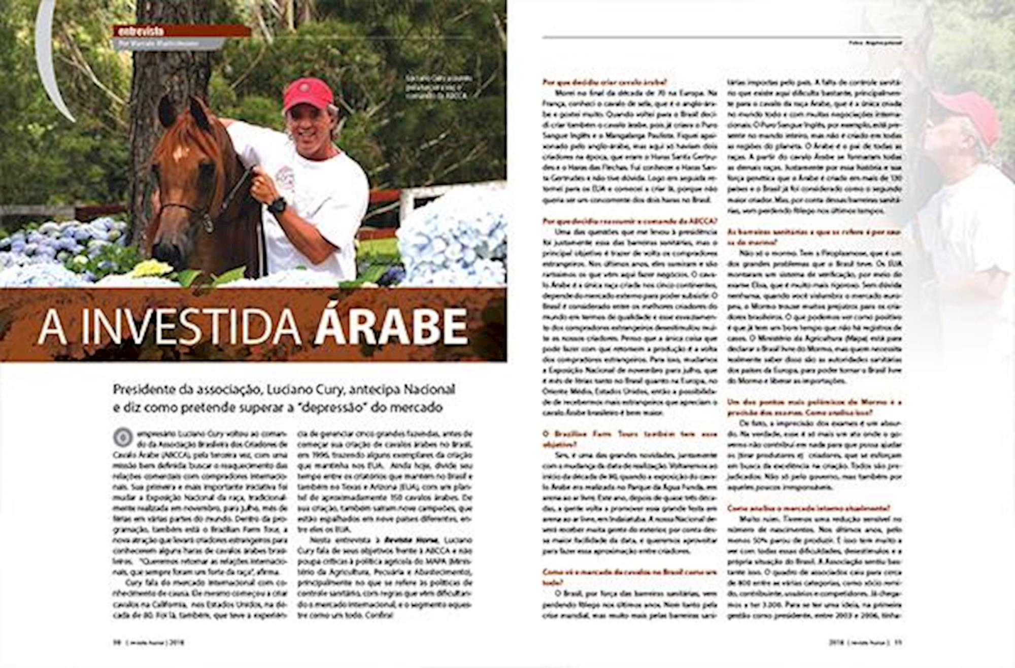 edição 106, Revista Horse, Luciano Cury, cavalo Árabe, ABCCA,