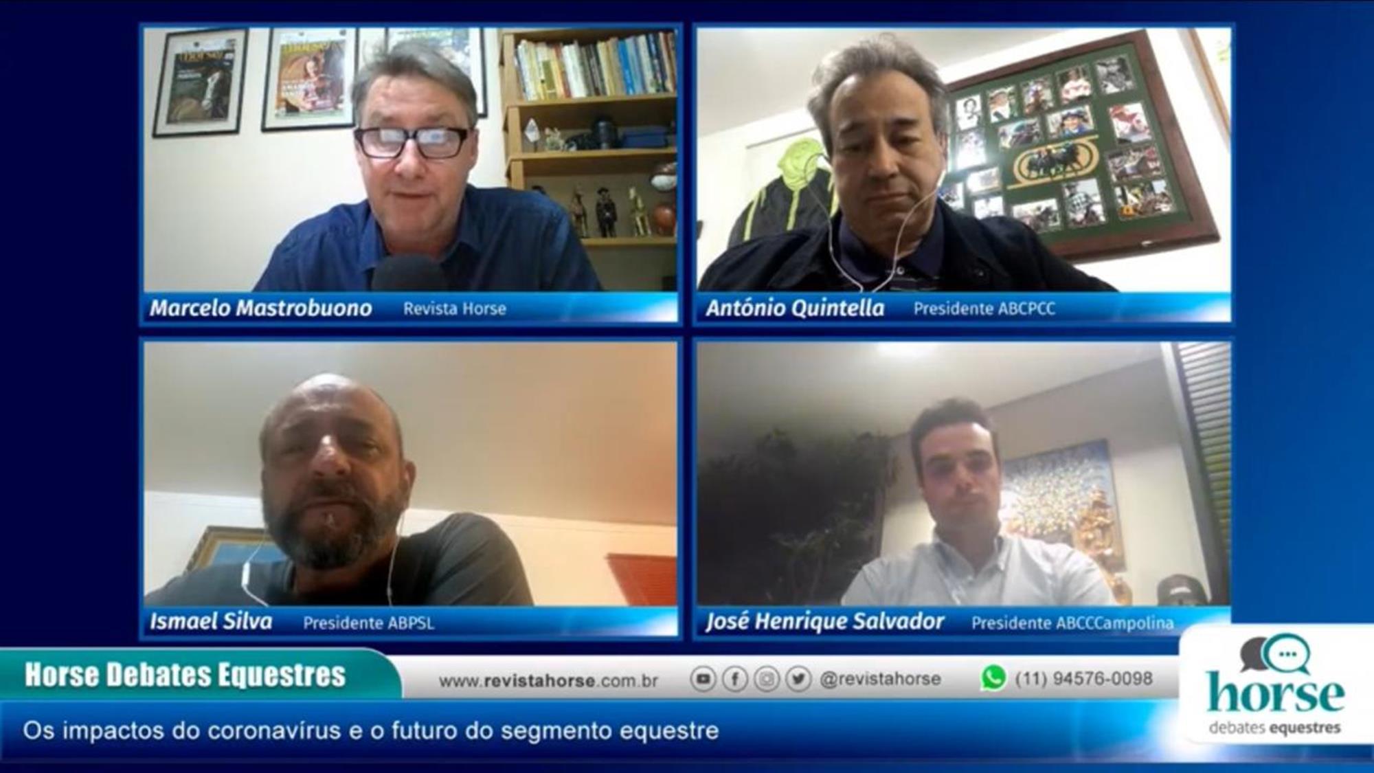 Marcelo Mastrobuono, editor da Horse, com Antonio Quintella, do PSI, Isamel Silva, do Lusitano, e José Henrique Salvador, do Campolina, Reprodução