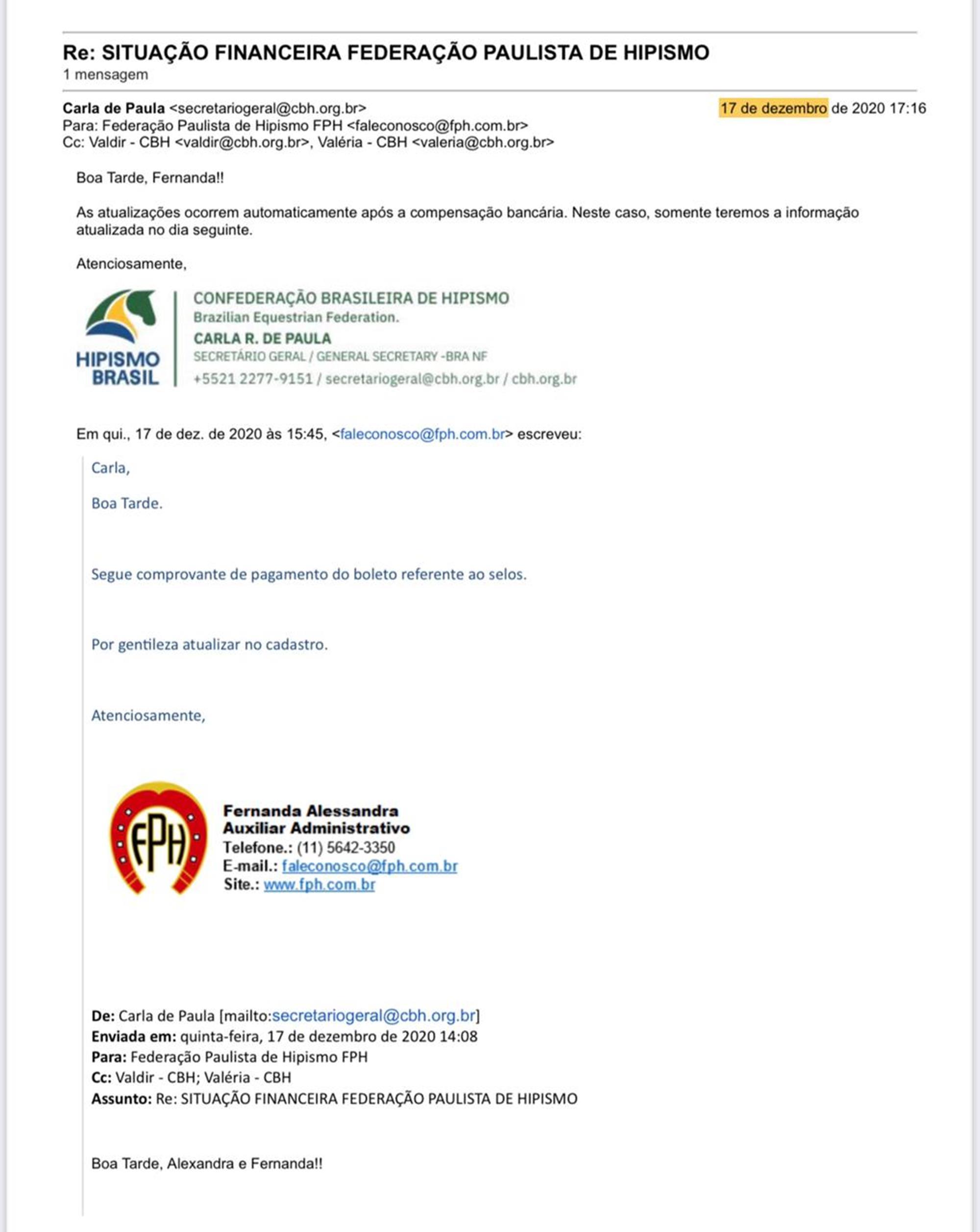 troca de e-mails, eleição cbh, , Reprodução