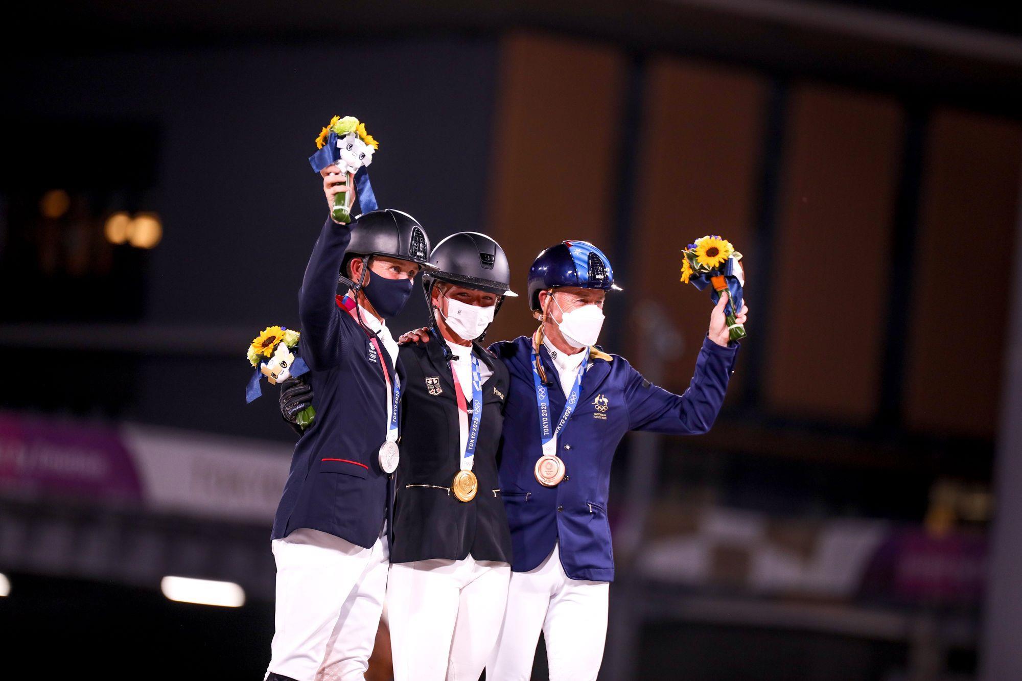 Pódio do CCE Individual,  com a alemã Julia Krajewski (Ouro),  o britânico Tom McEwen (Prata) e o australiano Andrew Hoy (Bronze), om a alemã Julia Krajewski (Ouro),  o britânico Tom McEwen (Prata) e o australiano Andrew Hoy (Bronze), Luis Ruas/CBH,